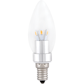 Лампочка led e14 Ecola candle LED 3,3W 220V E14 4000K прозрачная свеча искристый трилистник (металл. радиатор) 110x35