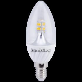 лампа e14 led свеча Ecola candle LED 4,0W 220V E14 2700K 320° прозрачная свеча искристая точка (керамика) 98х37