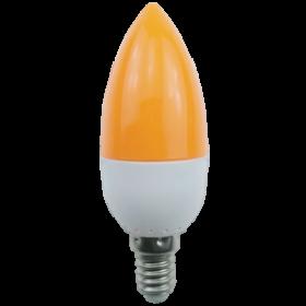 цветные лампочки Ecola candle LED color 2,6W 220V E14 Yellow свеча Желтая матовая колба 103x37