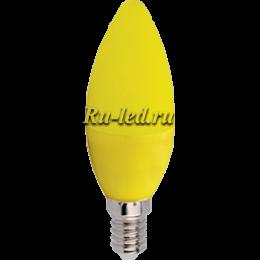 цветные лампочки прекрасно подойдут для многорожковых люстр и светильников Ecola candle LED color 6,0W 220V E14 Yellow свеча Желтая матовая колба 103x37