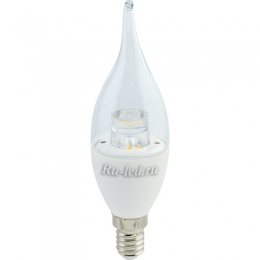 светодиодная лампа свеча на ветру е14 Ecola candle LED Premium 7,0W 220V E14 4000K прозрачная свеча на ветру с линзой (композит) 126x37