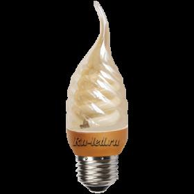 C7GW09ECG лампы - свечи ecola candle  9w dea/ftg 220v e27  витая золотистая свеча на ветру 125х39