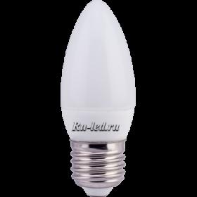 лампочка свеча Ecola candle LED 6,0W 220V E27 4000K свеча (композит) 101x37