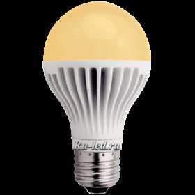 Лампочки светодиодные 220в  эффективное инженерное решение Ecola classic LED 8,1W A60 220-240V E27 золотистый шар (ребристый алюм. радиатор) 110x60