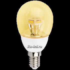 лампа купить цена которой радует потребителя и удивит любого своими световыми характеристиками Ecola globe LED 4,2W G45 220V E14 золотистый прозрачный шар искристая пирамида (композит) 90x45