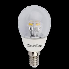 Ecola светодиодные лампы, благодаря своей уникальной конструкции, гармонично впишется в дизайн изящной люстры или бра Ecola globe LED 4,2W G45 220V E14 2700K прозрачный шар искристая пирамида 90x45