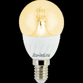 лампочка светодиодная led отличаются равномерным освещением Ecola globe LED Premium 4,0W G45 220V E14 золотистый 320° прозрачный шар искристая точка (керамика) 86х45