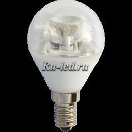 Световая лампа светодиодная позволяет сэкономить в пять раз больше электричества Ecola globe LED Premium 6,0W G45 220V E14 2700K прозрачный шар с линзой (композит) 80x45