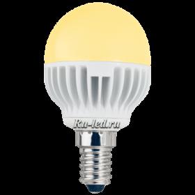 магазин лед ламп Ecola globe LED 5,4W G45 220V E14 золотистый шар (ребристый алюм. радиатор) 81x45 позволит использовать данный товар в различных светильниках и люстрах открытого типа