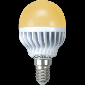 лампочки светодиодные е14 для большинства моделей люстр и светильников производства отечественных и зарубежных торговых марок Ecola globe LED 7,0W G45 220V E14 золотистый шар (ребристый алюм. радиатор) 81x45