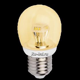 магазин светодиодных ламп предлагает купить лампу Ecola со скидкой Ecola globe LED 4,2W G45 220V E27 золотистый прозрачный шар искристая пирамида (композит) 84x45