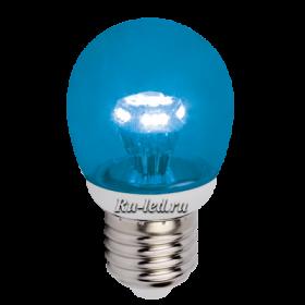 синяя лампочка станет любимым предметом интерьера Ecola globe LED color 3,0W G45 220V E27 Blue Синий прозрачный шар искристая пирамида 84x45