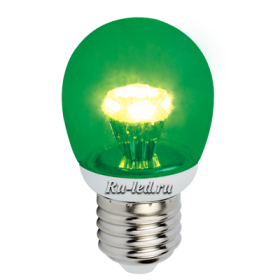 лампочка зеленого цвета может преобразить интерьер, создав необычное настроение Ecola globe LED color 3,0W G45 220V E27 Green Зеленый (насыщенный цвет) прозрачный шар искристая пирамида 84x45