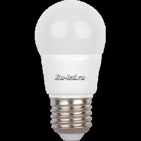 лампа светодиодная led шар зарекомендовала себя как практически безотказный прибор с очень длительным эксплуатационным периодом Ecola globe LED 5,4W G45 220V E27 4000K шар (композит) 89x45