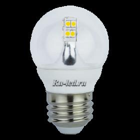 светодиодные лампы для дома купить и сэкономить на оплате счетов за электричество Ecola globe LED 4,0W G45 220V E27 4000K 320° прозрачный шар искристая точка (керамика) 76х45