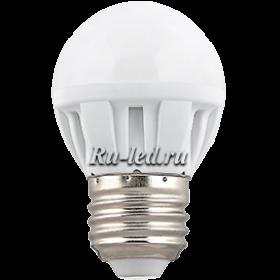 купить светодиодные лампочки магазин к огромной экономии при оплате средств за электроэнергию Ecola Light Globe LED 5,0W G45 220V E27 4000K шар 75x45