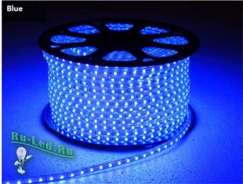 светодиодная лента 220в влагозащищенная 4,8W/m IP68 12x7 60Led/m Blue синяя лента 10м