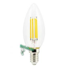 светодиодные лампы filament led купить Ecola candle LED 5,0W 220V E14 4000K 360° filament прозр. нитевидная свеча (Ra 80, 100 Lm/W) 96х37