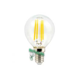 светодиодные лампы filament купить Ecola globe LED 5,0W G45 220V E14 4000K 360° filament прозр. нитевидный шар (Ra 80, 100 Lm/W) 78х45