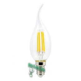 Светодиодные лампы filament  Ecola candle LED Premium 5,0W 220V E14 2700K 360° filament прозр. нитевидная свеча на ветру (Ra 80, 100 Lm/W, КП=0) 125х37