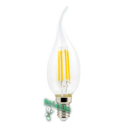 led filament Ecola candle LED Premium 5,0W 220V E14 4000K 360° filament прозр. нитевидная свеча на ветру (Ra 80, 100 Lm/W, КП=0) 125х37