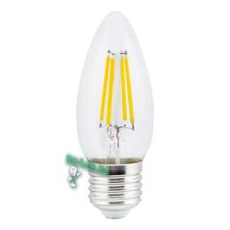 лампа filament е27 Ecola candle LED 5,0W 220V E27 2700K 360° filament прозр. нитевидная свеча (Ra 80, 100 Lm/W) 96х37