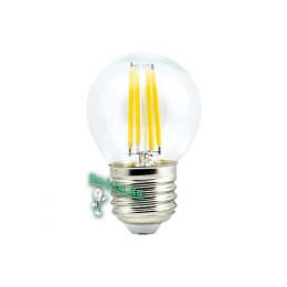 Filament E27 способен обеспечивать помещение достаточным количеством света Ecola globe LED Premium 5,0W G45 220V E27 4000K 360° filament прозр. нитевидный шар (Ra 80, 100 Lm/W, КП=0) 68х45