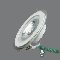 703R-10W-3000K Светильник встраиваемый,круглый,со стеклом,LED,10W