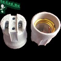 Ecola base Патрон керамический E27 Белый