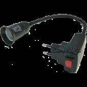 Ecola base Переходник вилка-патрон E27 гибкий 300мм c выключателем Черный