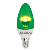 Ecola candle   LED color  3,0W 220V E14  Green Зеленая (насыщенный цвет) прозрачная свеча искристая пирамида  98x36