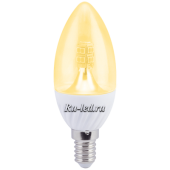 Ecola candle   LED Premium  4,0W 220V E14 золотистая 320° прозрачная свеча искристая точка (керамика) 98х37