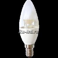 Ecola candle   LED Premium  6,0W 220V  E14 2700K прозрачная свеча  с линзой (композит) 105x35