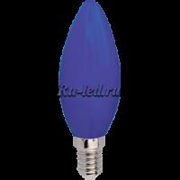 Ecola candle   LED color  6,0W 220V E14 Blue свеча Синяя матовая колба 103x37