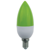 Ecola candle   LED color 2,6W 220V E14 Green свеча Зеленая матовая колба 103x37