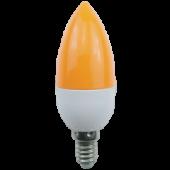 Ecola candle   LED color 2,6W 220V E14 Yellow свеча Желтая матовая колба 103x37