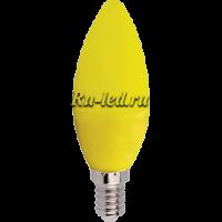 Ecola candle   LED color  6,0W 220V E14 Yellow свеча Желтая матовая колба 103x37