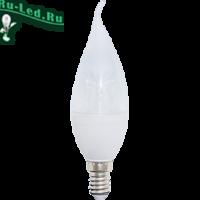 Ecola candle   LED Premium  8,0W 220V  E14 2700K прозрачная свеча на ветру с линзой (композит) 130x37