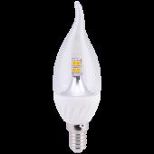 Ecola candle   LED  4,0W 220V E14 4000K 320° прозрачная свеча на ветру искристая точка (керамика) 125х37