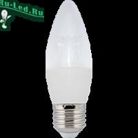 Ecola candle   LED Premium  8,0W 220V  E27 2700K прозрачная свеча с линзой (композит) 105x37