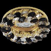 Ecola MR16 CD4141 GU5.3 Светильник встр. круглый с хрусталиками Прозрачный и Черный/Золото 50x90 (кd74)
