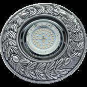 """Ecola накладка широкая гипсовая """"оливковый венок"""" для встр. свет-ка GX53 H4 черненое серебро 23х195"""