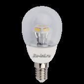 Ecola globe   LED  4,2W G45 220V E14 2700K прозрачный шар искристая пирамида 90x45