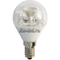 Ecola globe   LED Premium  6,0W G45 220V E14 4000K прозрачный шар с линзой (композит) 80x45