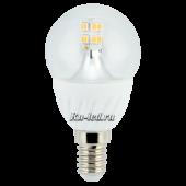 Ecola globe   LED Premium  4,0W G45 220V E14 2700K 320° прозрачный шар искристая точка (керамика) 86х45