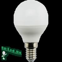 Ecola globe   LED Premium  9,0W G45  220V E14 6000K шар (композит) 82x45