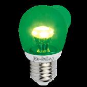 Ecola globe   LED color  3,0W G45 220V E27 Green Зеленый (насыщенный цвет) прозрачный шар искристая пирамида 84x45