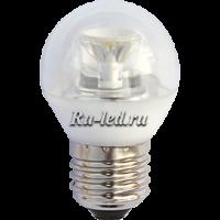 Ecola globe   LED Premium  6,0W G45 220V E27 2700K прозрачный шар с линзой (композит) 75x45