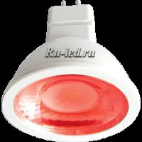 Ecola MR16   LED color  4,2W  220V GU5.3 Red Красный (насыщенный цвет) прозрачное стекло (композит) 47x50