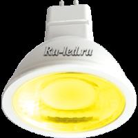 Ecola MR16   LED color  4,2W  220V GU5.3 Yellow Желтый (насыщенный цвет) прозрачное стекло (композит) 47х50